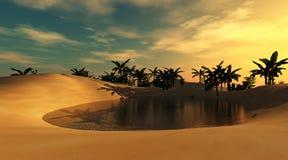 Oasis dans le désert arénacé illustration stock