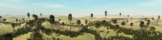 Oasis dans le désert arénacé illustration de vecteur