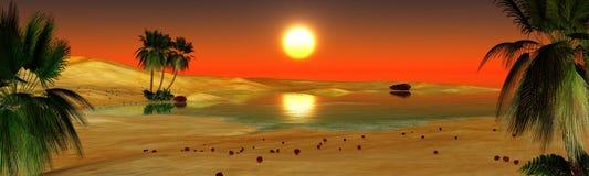 Oasis dans le désert, oasis de paume, panorama illustration de vecteur