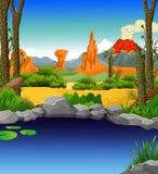 Oasis de beauté avec le fond de paysage de désert illustration libre de droits