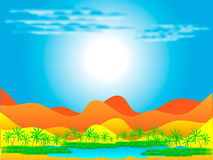 Oasis in desert. An illustration of a desert oasis with palm trees under a blue sky Stock Photo