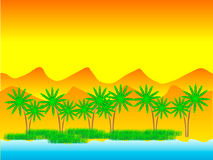 Oasis in the desert. With palm trees Stock Photo