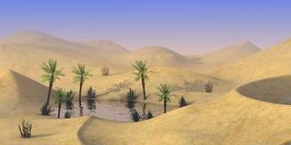 Oasis in desert. 3d render of oasis in desert Royalty Free Stock Image