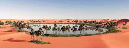 Oasis in the desert. Computer generated 3D illustration with an oasis in the desert Royalty Free Stock Photos