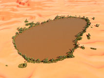 Oasis in the desert. Computer generated 3D illustration with an oasis in the desert Royalty Free Stock Images