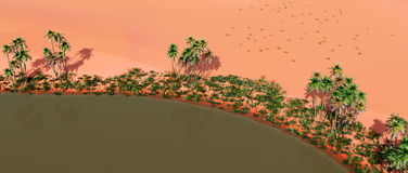 Oasis in the desert. Computer generated 3D illustration with an oasis in the desert Royalty Free Stock Photography
