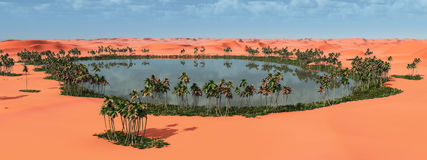 Oasis in the desert. Computer generated 3D illustration with an oasis in the desert Stock Photography