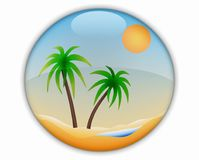 Oasis in the Desert. 3d Icon Oasis in the Desert Royalty Free Stock Photos