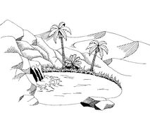 Oasis desert graphic art black white landscape illustration Stock Photo