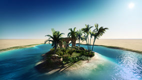 Oasis in the desert. Hand illustrations oasis in the desert Royalty Free Stock Photos