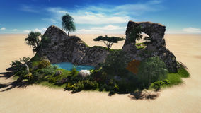 Oasis in the desert. Hand illustrations oasis in the desert Royalty Free Stock Images