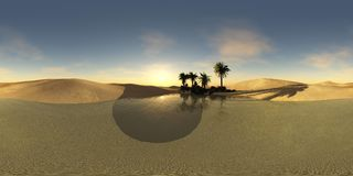 Oasis in the desert, HDRI, environment map, spherical panorama royalty free stock photo