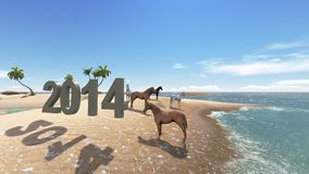 Oasis in the desert with horse 2014 stock photo