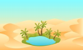 Oasis in the desert. Oasis. Lake and palms in the desert. Vector illustration Stock Images