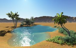 Oasis. In the desert made in 3d software Stock Photos