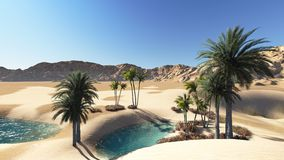 Oasis. In the desert made in 3d software Stock Photo