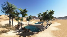 Oasis. In the desert made in 3d software Royalty Free Stock Images