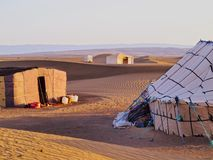 Oasis on the desert, Morocco. Oasis and a camp on Zagora desert in Morocco, Africa Royalty Free Stock Photos