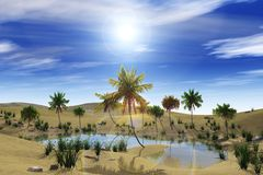 Oasis in the desert, palm trees and lake. Among the clouds the sun Royalty Free Stock Photos