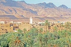 Oasis, desert and table mountain Morocco Royalty Free Stock Image