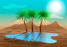 Oasis in the desert. Vector illustration. Oasis in the desert Royalty Free Stock Images