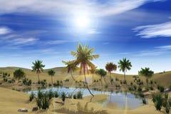 Oasis en el desierto, las palmeras y el lago fotos de archivo libres de regalías