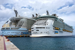 Oasis and Freedom Cruise ships Royalty Free Stock Images