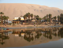Oasis of Huacachina. Sand dunes and oasis at Huacachina.  Peru Royalty Free Stock Image