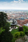 Oasis in a megalopolis. Park with pavilion on a top of hill with a view of Graz, Austria stock photo
