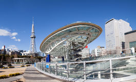 Oasis 21 in Nagoya, Japan city skyline with Nagoya Tower. Royalty Free Stock Photo