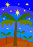 Oasis by night. Oasis with palms by night Royalty Free Stock Images