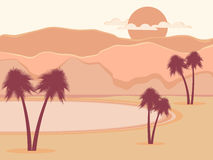Oasis with palm trees. Desert. Vector Stock Photography