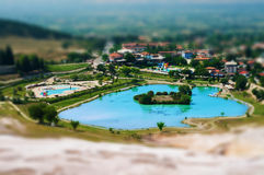 Mineral pool in Pamukkale. Tilt-shift view of mineral pool in Pamukkale, Turkey Royalty Free Stock Image