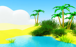 Oasis with a pond. Oasis in the desert landscape with a blue pond Royalty Free Stock Image
