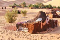 Oasis in Sahara. Desert - nomadic (berber) tents Stock Photography