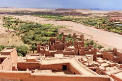 Oasis in Sahara Desert, Africa. Ait Benhaddou is a fortified city, or ksar, along the former caravan route between the Sahara and Marrakech in present-day Stock Images