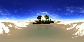 Oasis in the sandy desert Royalty Free Stock Photography