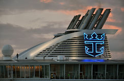 Oasis of the Seas funnel. Oasis of the Seas ships funnel at night, Royal Caribbean Cruise Lines royalty free stock photos