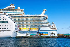 Oasis of the Seas. Nassau, Bahamas - Jan. 13, 2013:  Royal Caribbean's ship, the Oasis of the Seas, anchored in the port of Nassau, Bahamas.  This ship, because Stock Photography