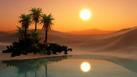Oasis. Sunset in the sandy desert, palm trees in the desert near the pond, 3d rendering Stock Photos
