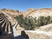 Oasis in tunisia. Way to the Chebika Oasis between the rocks tunisia africa. Old ruins of Chebika village Royalty Free Stock Image