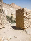 Oasis in tunisia. Way to the Chebika Oasis between the rocks tunisia africa. Old ruins of Chebika village Stock Photo