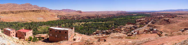 Oasis and village, Morocco. Oasis and village in Morocco Royalty Free Stock Image