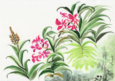 Oasis. Watercolor painting of oasis plants. Asian style Stock Image