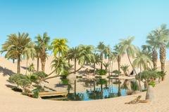 Oasis y palmeras en campos del desierto y del viajero ilustración del vector