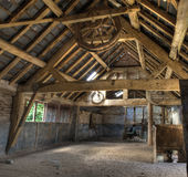 Oast house, Herefordshire. Stone and timber-frame oast house interior, Leominster, Herefordshire, England Stock Photo