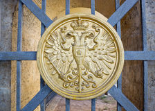 Сoat of arms on gate. The coat of arms on a lattice of gate of the old сastle Royalty Free Stock Photos