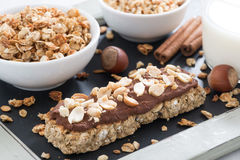 Oat bar with chocolate and nuts Stock Image
