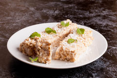 Oat bar with coconut with mint on a plate, close up, horizontal Royalty Free Stock Photos