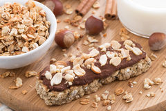 Oat Bar With Chocolate On Wooden Board Stock Photos